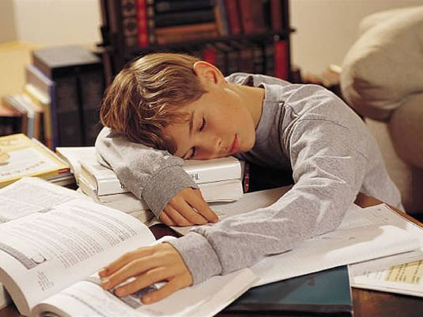 Exhausted boy fell asleep while doing homework with books and papers spread out on table